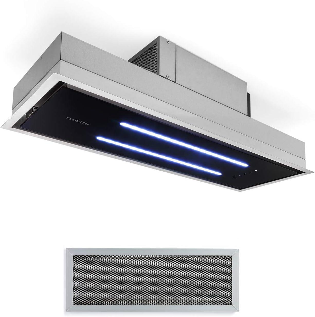 Klarstein High Line Campana extractora de techo - Campana bajo mueble o encastrable, Marco ancho 77 cm, Vidrio satinado, 75 W, 3 niveles potencia, Potencia extracción 410 m³/h, 2 luces led 4 W, Negro