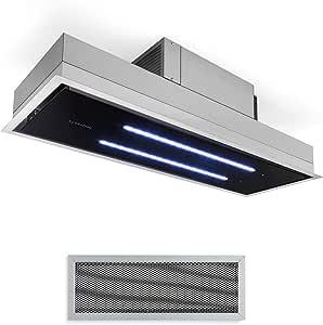 Klarstein High Line Campana extractora de techo - Campana bajo mueble o encastrable, Marco ancho 90 cm, Vidrio satinado, 75 W, 3 niveles potencia, Potencia extracción 410 m³/h, 2 luces led 4 W, Negro: Amazon.es: Hogar