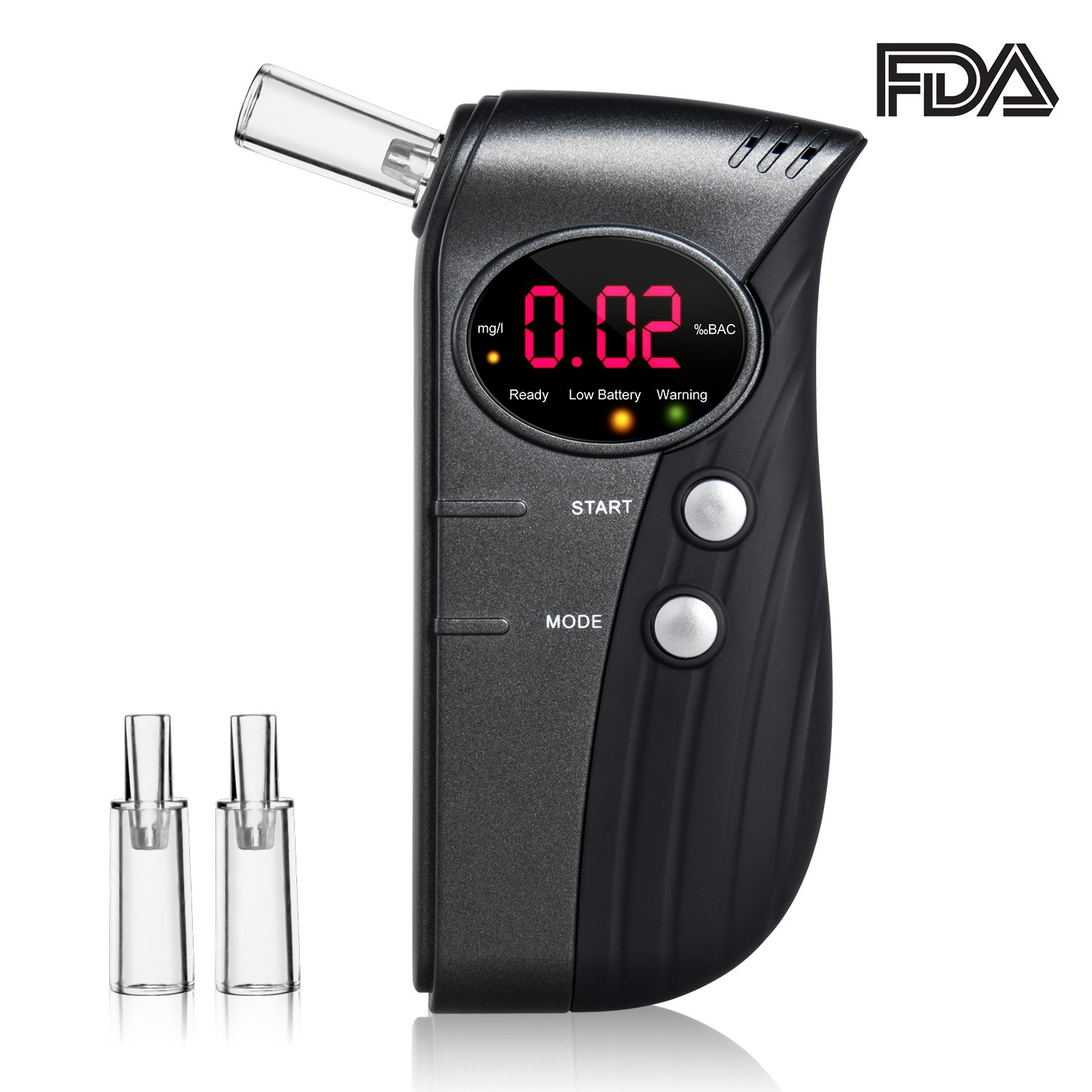 Breathalyzer, Portable Breath Alcohol Tester, Professional Digital Battery Power BAC Tracker with Mouthpiece and LCD Display (Black1)