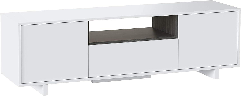Habitdesign 0G6631BO - Mueble de Comedor TV Moderno, Color Blanco Brillo y Ceniza, Dimensiones 150 cm x 47cm x 41 cm de Fondo: Amazon.es: Hogar