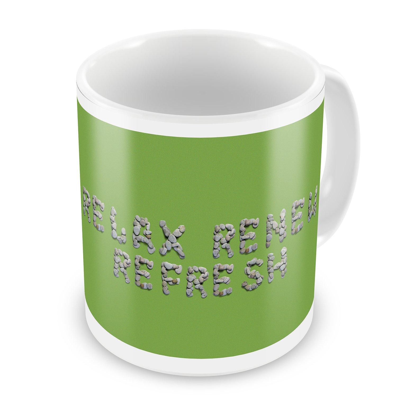 Coffee Mug Relax Renew Refresh Spa Stones Rocks - NEONBLOND