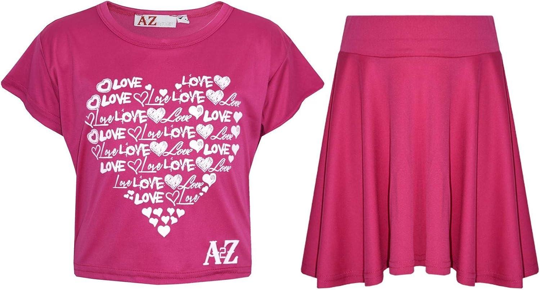 A2Z 4 Kids Girls Top Kids Love Print Stylish Crop Top /& Skater Skirt Set 5-13 Y