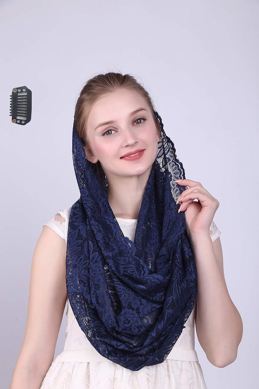 Czy accessories Damen Infinity Schal Mantilla katholische Kirche Veil Kopfbedeckung Lateinische Messe