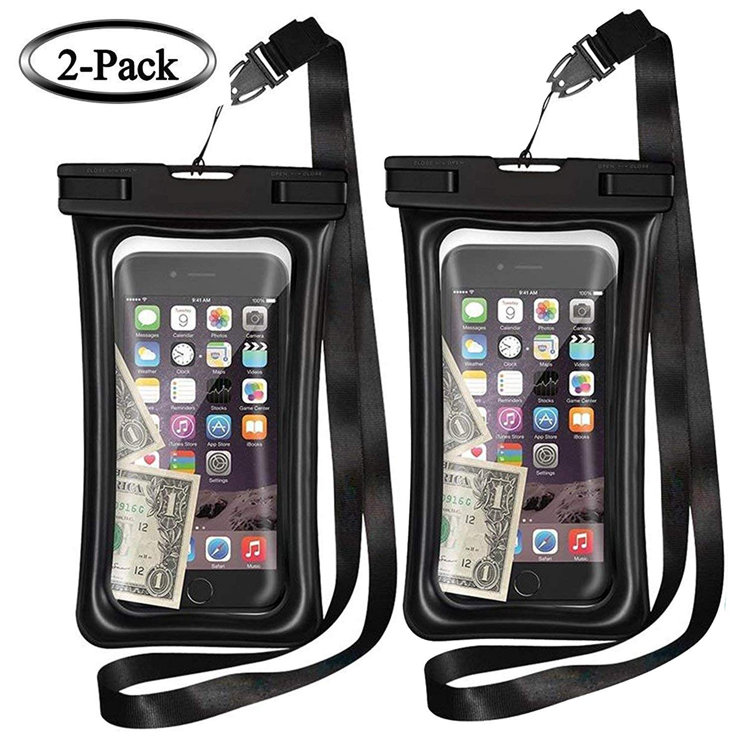 MQOUNY Waterproof Phone Pouch,2 Pack Floating Waterproof Case Waterproof Phone Case IPX8 Available TPU Clear Dry Bag for iPhoneXs/Xs Max/XR/8/8plus/7/6s/6/6s Plus Samsung up to 6.5'' (Black-Black)