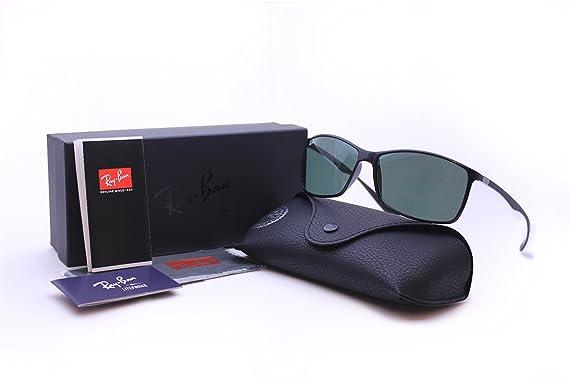 b503b1e30e Ray Ban RB 4179 LITEFORCE TECH 601 71 62 mm Black Rectangle Sunglasses  Green Lenses  Amazon.co.uk  Clothing