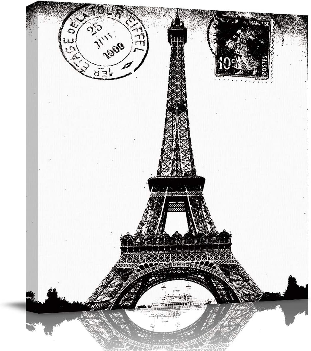 Vintage Wall Art Oil Paintings on Canvas Print with Wooden Framed Ready to Hang Paris Eiffel Tower Black White Office Artwork Home Decoration Living Room Bedroom Bathroom Giclee Walls Decor 12x12in