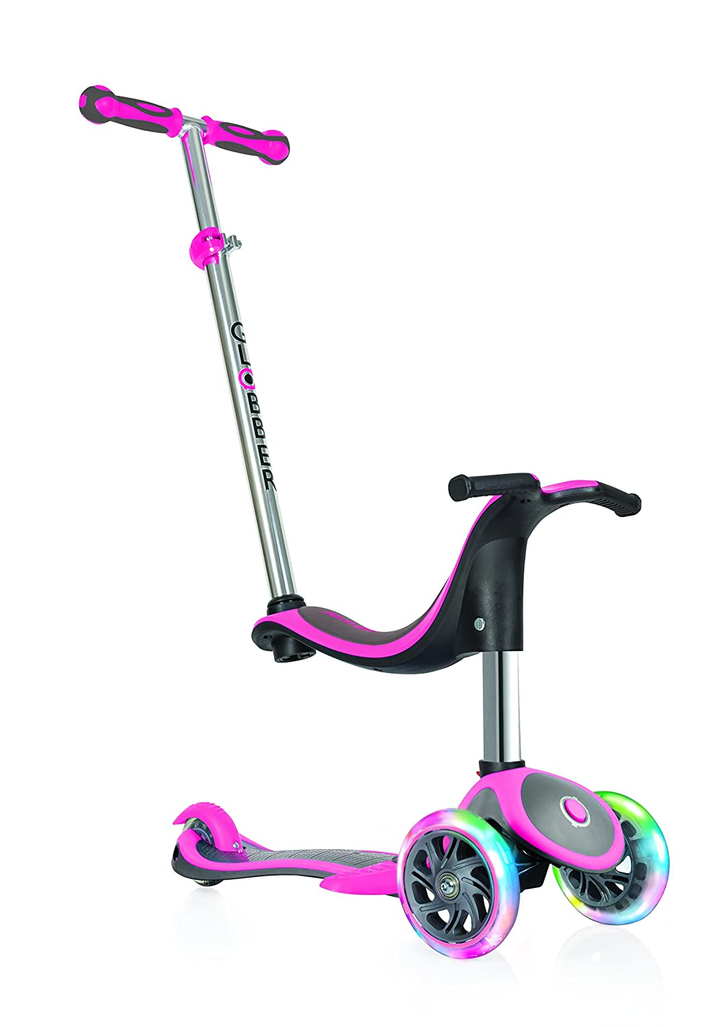 Globber Kinder EVO 4 in1 Plus mit Licht bis Rädern Scooter, Kinder, Evo 4-in-1 Plus with Light Up Wheels, neon pink 454-132