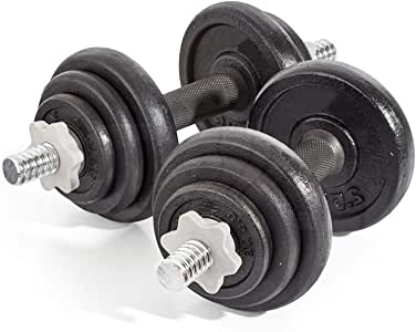Generic - Juego de Mancuernas para Ejercicios de Peso, 20 kg, Hierro Fundido, para Gimnasio o bíceps, para Entrenamiento de Pesas: Amazon.es: Electrónica