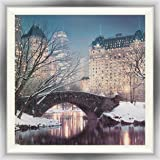 "Spires Art ""Twilight in Central Park"" Framed print with a textured varnish finish, Multi-Colour"