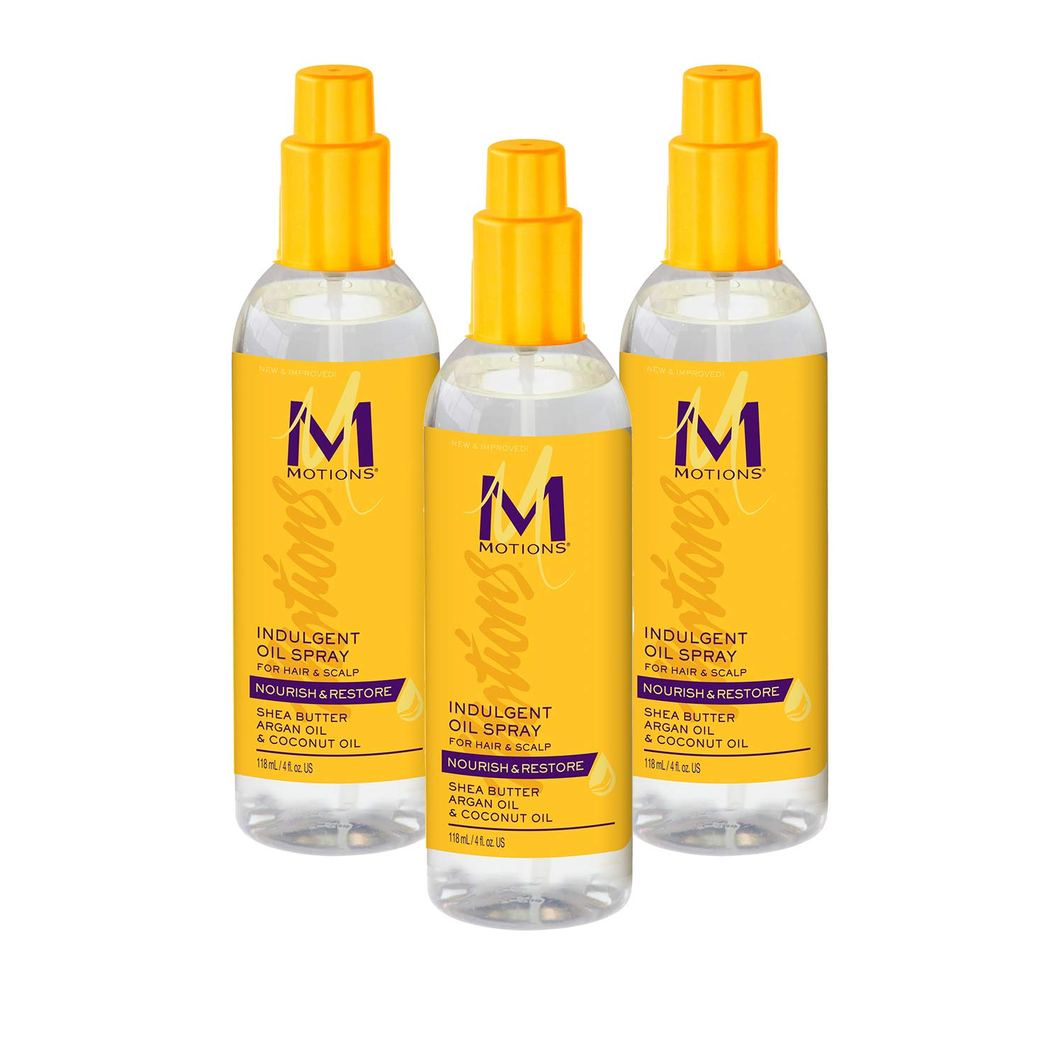 Motions Indulgent Oil Spray For Hair & Scalp, Nourish & Restore, With Shea Butter, Argan Oil & Coconut Oil, 4 Ounce (3 Pack)