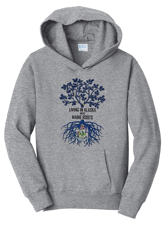 Tenacitee Girls Living in Alaska with Maine Roots Hooded Sweatshirt