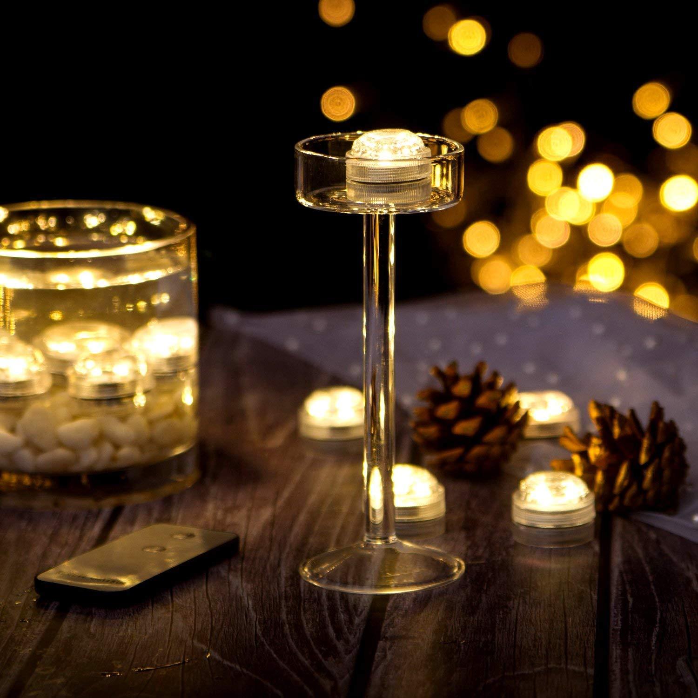 Paquete de 10 LED vela candelita blanco cálido, Mini LED Luz Sumergible con mando a distancia para Vaso, Tazones, Piscina, Acuario y Decoración de Fiesta: ...