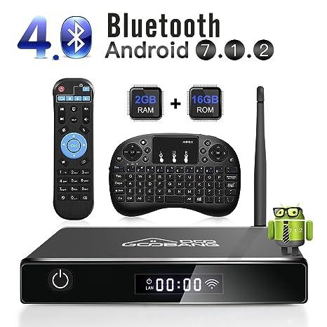 Android 7.1 TV Box, goobang Ghundoo 2018 2 + 16GB WIFI Antena Televisión Inteligente Buzón