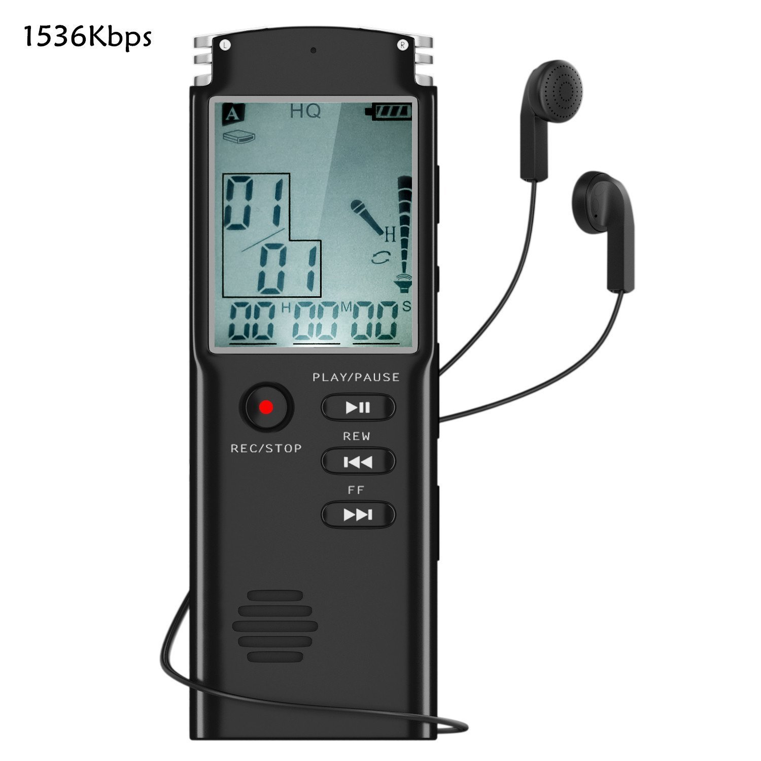 Voice Recorder, YESSHOW 8GB Digital Voice Recorders with LCD Screen & MP3 Player Built-in Mic USB Rechargeable Dictaphone Stereo for Recording Interviews Conversation Lectures Meetings Class