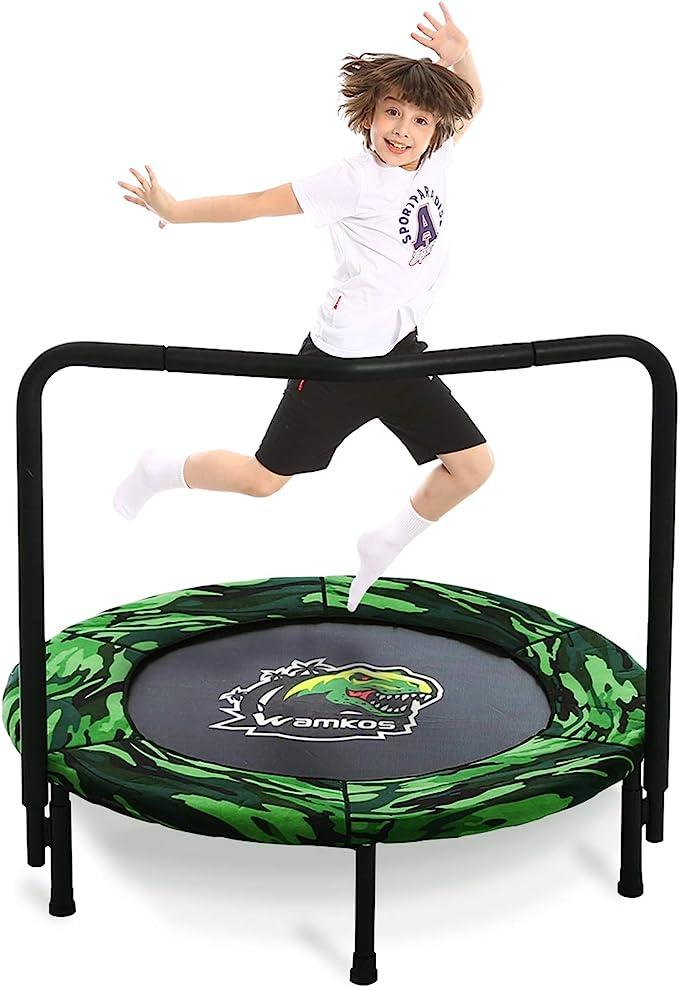 Wamkos 2021 Upgraded Dinosaur Mini Trampoline for Kids - The Best Overall