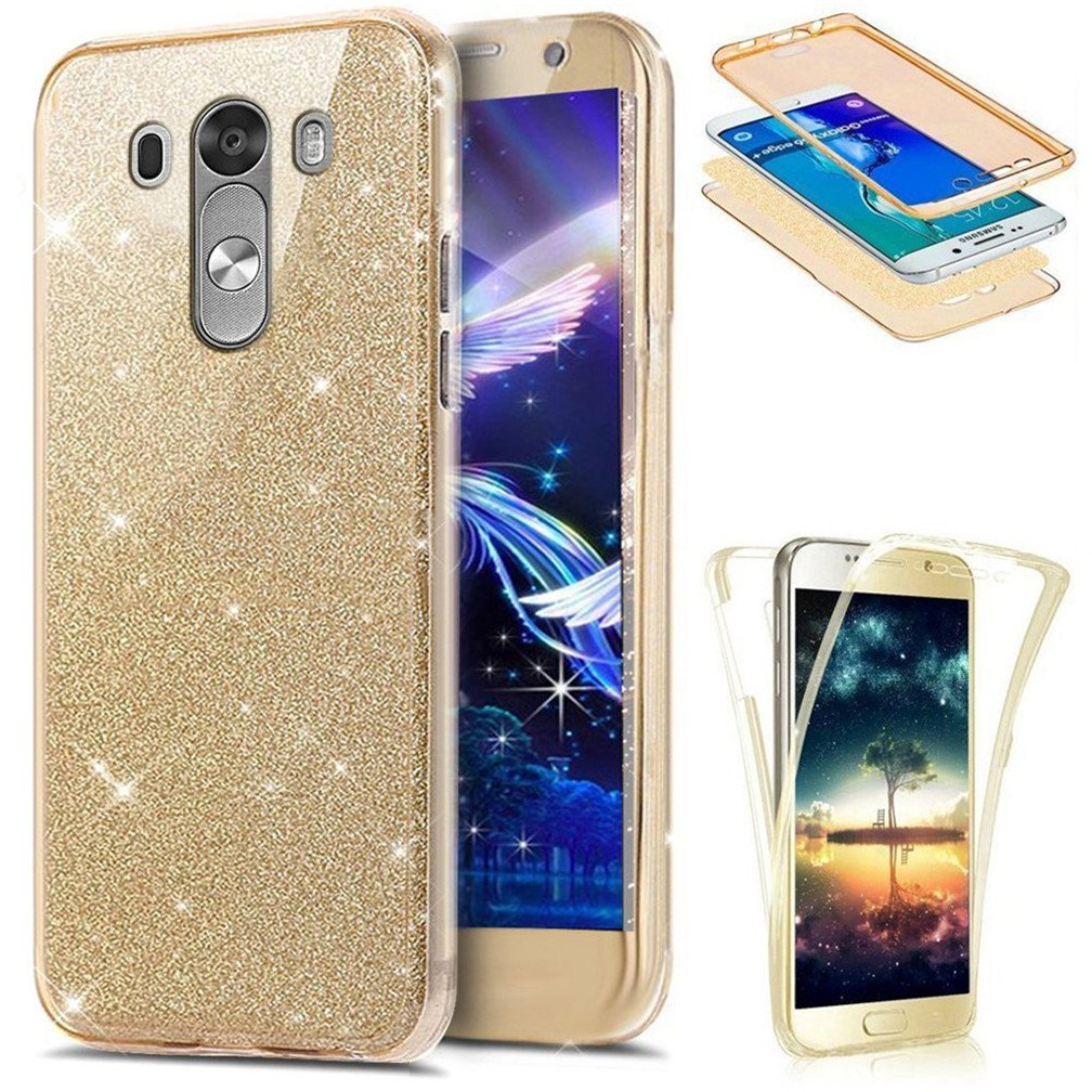 LG G3 Case LEECOCO 360 Degree All-Round Protective Case Bling Glitter Sparkly Anti Scratch Soft Transparent TPU Silicone Case Cover for LG G3 Full Glitter Rose Gold