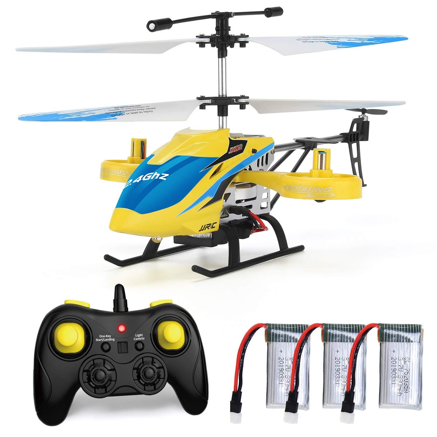 Yellow JX02 Helicopter 4 Channel with Side Propellers for Fly Sideway Altitude Hold with 3 Batteries in 18 Minutes Crash Resistance RC Toy Helicopter Gift JJRC Helicopter with Remote Control