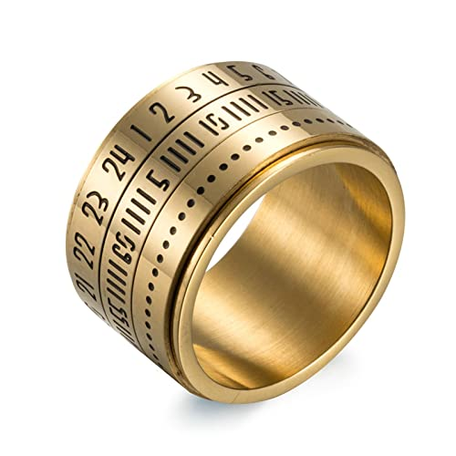 Bishilin Stainless Steel Rings For Him Arabic Numerals Wedding Ring