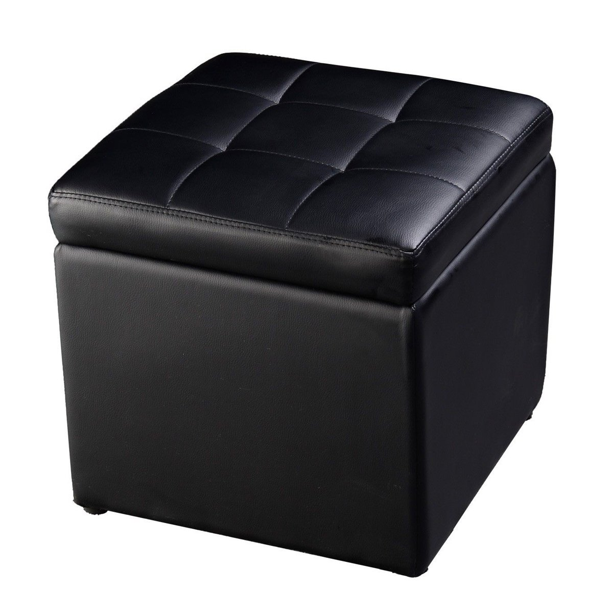 Cube Ottoman Pouffe Storage Box Lounge Seat Footstools with Hinge Top Black