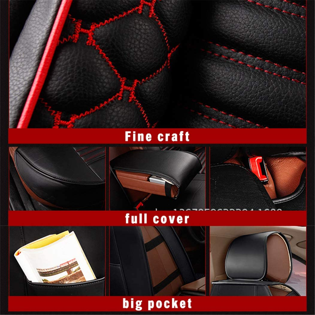 for Subaru XV Forester Outback Legacy Luxury Car Seat Covers Sets PU Leather Car Interior Seat Cushion Car Seat Cover Seat Back Mat Protector Black and Red