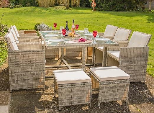 AshaTM - Juego de muebles de jardín de 6 plazas de ratán, color gris: Amazon.es: Jardín