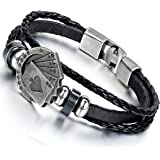 Flongo Men's Unique Alloy Biker Playing Card Poker Leather Bangle Wrap Cuff Bracelet, 8.7 inch