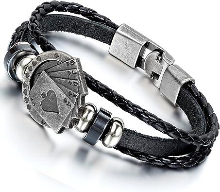 Fit 7-8 inch Wrist Flongo Mens Vintage Alloy Braided Biker Leather Bracelet Bangle Rope Brown Green Black