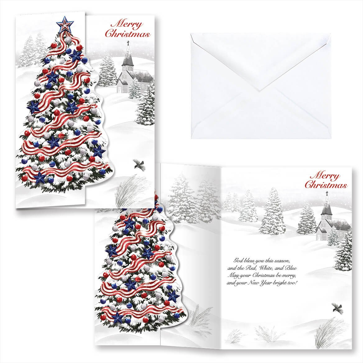 Amazon.com: Patriotic Tree Christmas Card Set of 20: Health ...