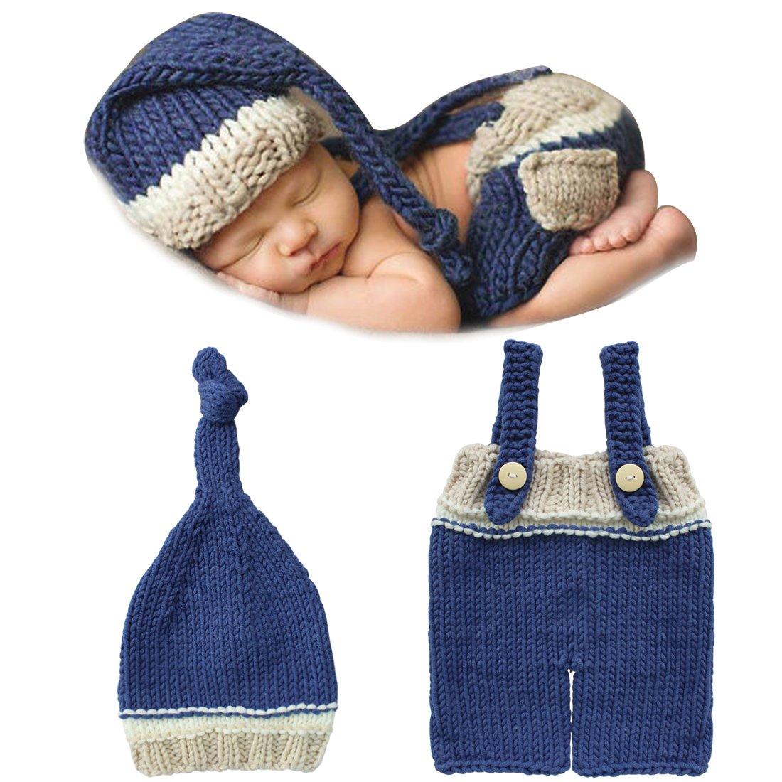 Tiaobug Costume de Photographie pour Bébé Garçon 0-12 mois Vêtement Tenue Crochet Tricot (Pantalons + Bonnet) (0-12 mois, #2)