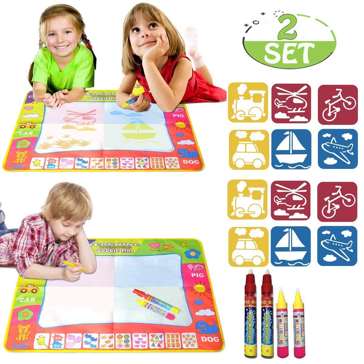 EXSPORT Aqua Doodle Mat 4 Color Children Water Magic Drawing Book Mat Board & 2 Magic Pens & 6 drawing formwork Doodle Kids Educational Toy Gift for Boys Girls 31.5'' x 23.6''(2 sets)