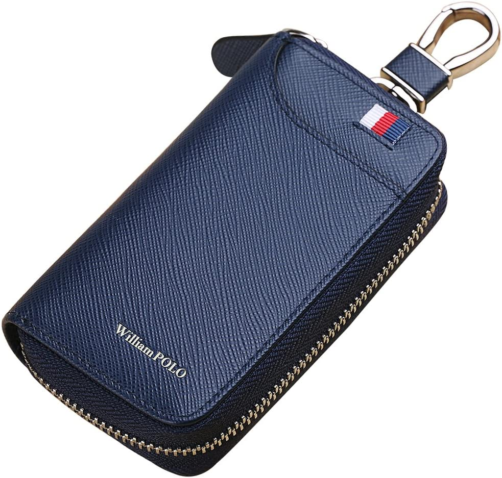 WILLIAMPOLO Porte-Cl/és Homme Cuir V/éritable Portefeuille /à Glissi/ère /Étui /à Cl/é Cartes de Cr/édit avec 12 Crochets Bleu