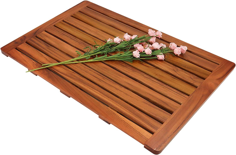 "Utoplike Teak Wood Bath Mat, Shower Mat Non Slip for Bathroom, Wooden Floor Mat Square Large for Spa Home or Outdoor (31.9""x18"")"