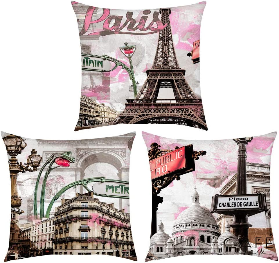 Decor MI Throw Pillow Covers 18 x 18 Inch Pink Eiffel Tower of Paris Flannel Throw Pillow Case Paris Pattern Design with Zipper Bedroom Home Living Room Decor Cushion Pillow Cover, Set of 3