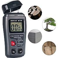 Humidimètre de bois, 4EVERHOPE Humidimètre de testeur d'humidité numérique, Mesure de l'humidité avec HD LCD pour les murs en bois Bûches de bois de chauffage Plâtre à la chaux Béton Brique de papier en carton (Gamme 0-99.9%)