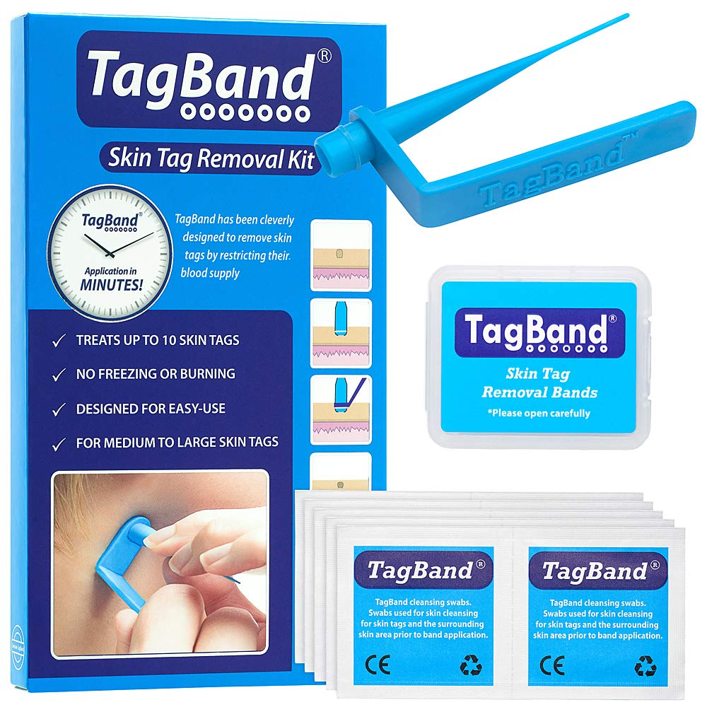 Original TagBand Skin Tag Remover Device for Medium/Large Skin Tags (Includes 10x Removal Bands & Cleansing Wipes)