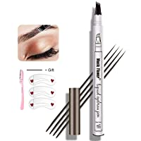 Eyebrow Pen,MoonKong 4 Point Eyebrow Pencil Waterproof Eye Brown Makeup,Eyebrow Kits with 3 Eyebrow Stencil,1 Brow Razor(1# Dark Brown/Chestnut)