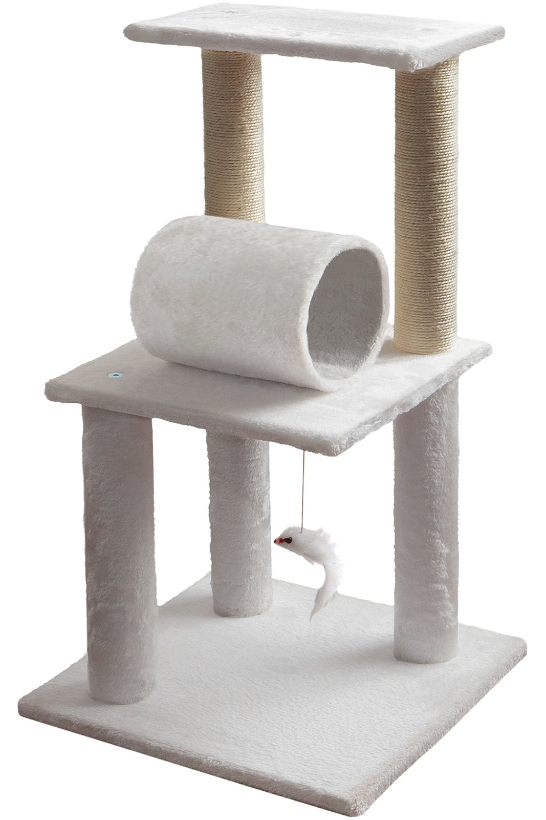 Paws & Pals 16'' x 16'' x 33'' Inches Multi-Level Cat Scratching Post 3 Level Cat Condo Tree House Tower with Sisal Rope, Feather Mouse Cat Toy Ball, Play Tunnel by Paws & Pals
