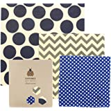 SuperBee Beeswax Wraps | Set of 3: Small, Medium and Large | Organic, Eco Friendly & Ethical Trade Reusable Food Wraps - Hipster