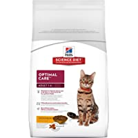 Hill's Science Diet Adult Cat Food, Optimal Care Chicken Recipe Dry Cat Food, 4kg Bag
