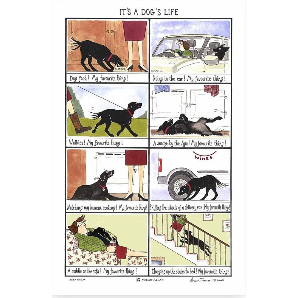 Annie Tempest Tottering By Gently It's A Dog's Life Cotton Linen Funny Tea Towel