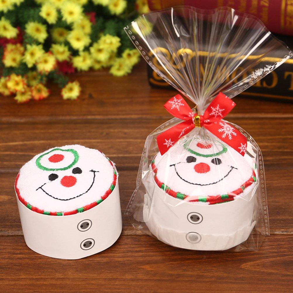 OULII Toalla de algodón de Navidad pastel modelado paño elegante regalo para la decoración de Navidad (muñeco de nieve): Amazon.es: Hogar
