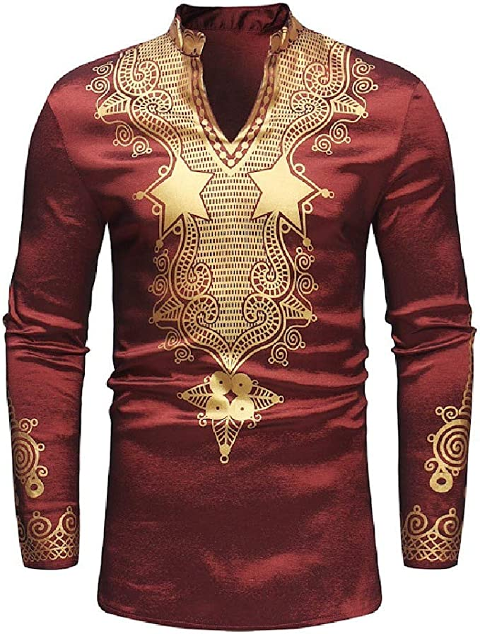 Comaba Mens Short-Sleeve Tops Causal African Dashiki Trible Polo Shirt