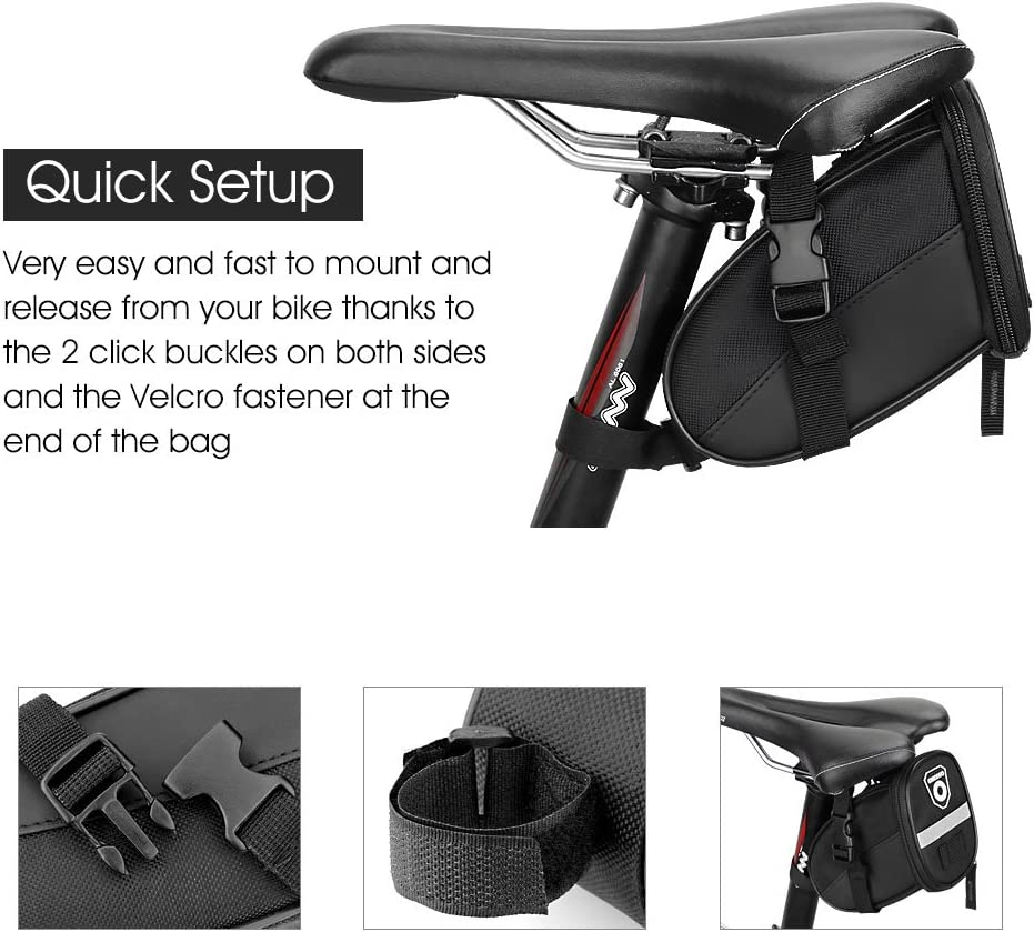 Enkeeo - Bolsa de sillín alforja para bicicleta (Cinta reflectante ...