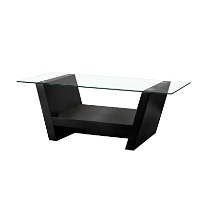 Amazoncom Iohomes Hudson Coffee Table With Glass Top Black