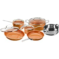 Gotham Steel 10-Piece Kitchen Set with Non-Stick Ti-Cerama Coating by Chef Daniel Green - Includes Skillets, Fry Pans, Stock Pots and Steamer Insert – Copper