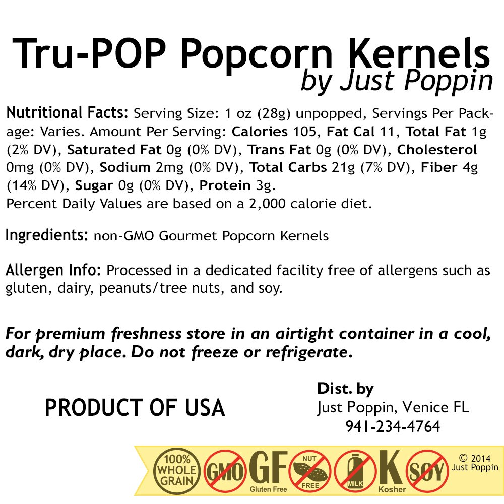 Amazon.com: Tender Pop Hulless Popcorn Kernels 2 Lbs - Just Poppin Brand
