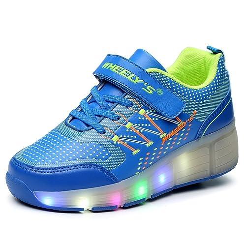 Zapatillas con ruedas automáticas para niños. Con luces LED - Azul - Talla 31: Amazon.es: Zapatos y complementos