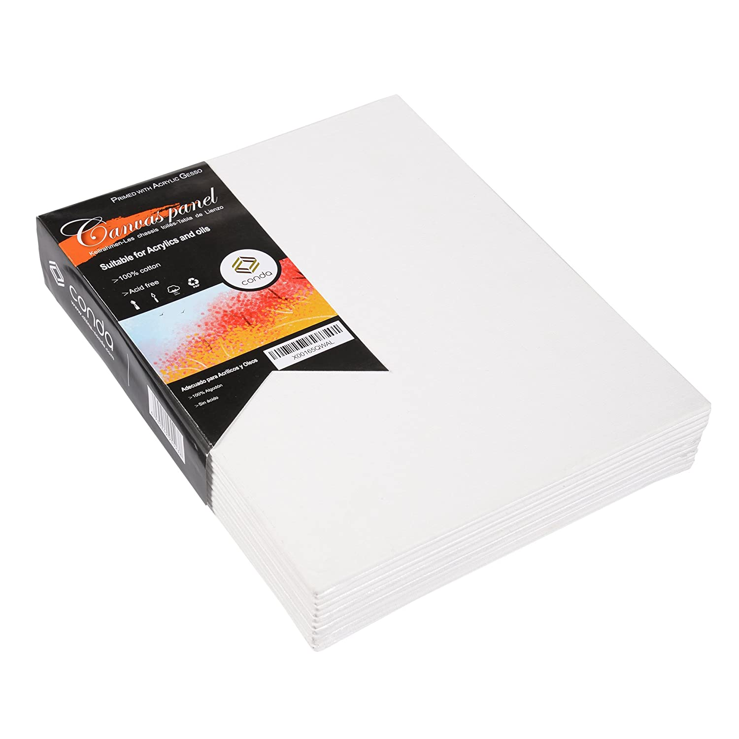 CONDA 24-Pack of 8 X 10 inch Canvas Panels Acid Free Canvas Panel Boards for Painting