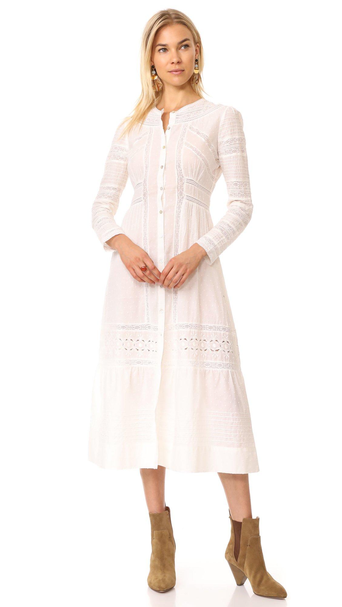 LOVESHACKFANCY Women's Victorian Maxi Dress, Ivory, 8
