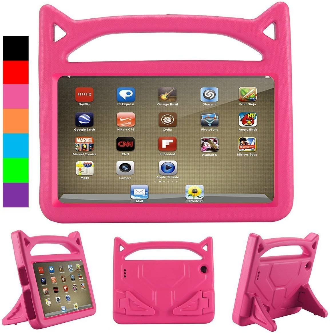 All New Tablet 8 2018 Case, 8 Inch Tablet Kids Case - Riaour Kid-Proof Light Weight Kids Friendly Cover Case with Handle Stand for 8 Inch Tablet(Compatible with 2018/2017/2016 Release) - Pink